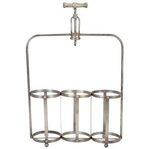 La Chaise Longue - rangement 3 bouteilles tire-bouchon en métal 35x11 - Porte Bouteilles