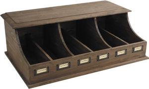 Aubry-Gaspard - range-couverts 6 compartiments en bois vieilli 58x - Range Couverts