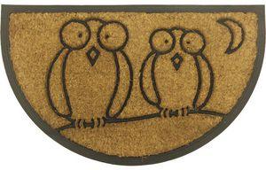 Aubry-Gaspard - paillasson demi-lune hiboux 75x45cm - Paillasson