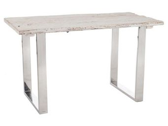 WHITE LABEL - bureau bois flotté blanc et métal chromé - tanjane - Bureau