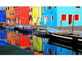 Magel'design - burano village pop 150x90 cm , 3d, effet relief - Tableau Contemporain