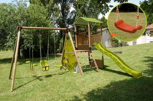 NAT ET CHOC - aire de jeu 6 activités lombarde en bois 2,35m - Aire De Jeux