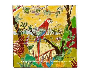 Emaux De Longwy - cendier carr� g.m. (oiseaux d'am�rique) - Vide Poche