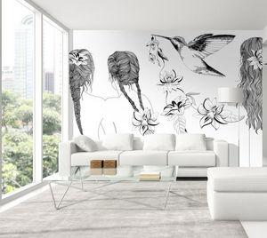 IN CREATION - cheveux et oiseau noir sur blanc - Papier Peint Panoramique