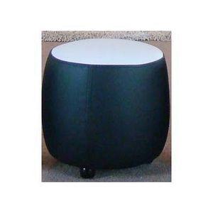 International Design - pouf bicolore rond - couleur - noir - Pouf