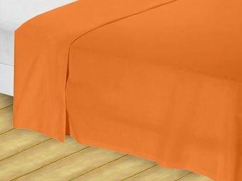 Tradition des Vosges - drap plat orange 180x290 cm - 57fils/cm - Drap De Lit