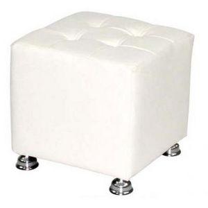 International Design - pouf carré blanc/noir - couleur - blanc - Pouf