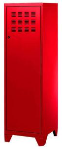 PHSA - armoire 1 porte en métal rouge 40x40x134cm - Armoire Dressing