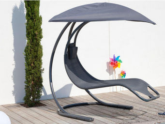 PROLOISIRS - chaise longue suspendue zen grise en textilène et  - Bain De Soleil