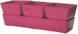 MARC VERDE - jardinière rose 3 pots en bambou et résine 31x10,4 - Jardinière