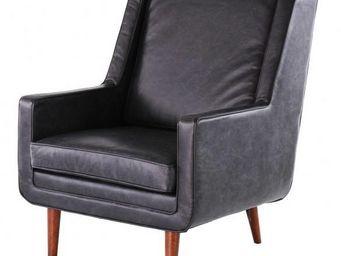 ZAGO - fauteuil bjorn en cuir noir 76x84x95cm - Fauteuil
