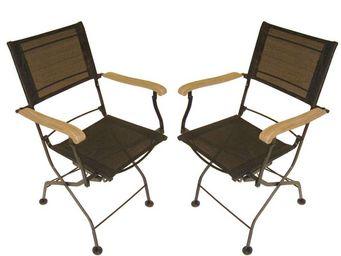 MEDICIS FRANCE - fauteuils pliants en fer forgé et textilène noir ( - Chaise De Jardin