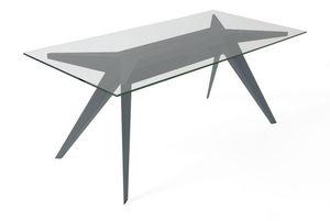 MARCEL BY - table stern 220 by stephan lanez en verre et alumi - Table De Repas Rectangulaire