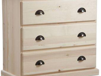 BARCLER - commode 3 tiroirs en bois brut 83x77x40 cm - Commode