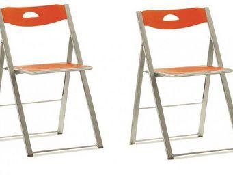 Domitalia - lot de 2 chaises pliantes icon orange. - Chaise Pliante