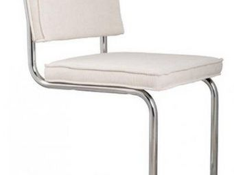 ZUIVER - chaise zuiver ridge rib velours blanc avec cadre c - Chaise