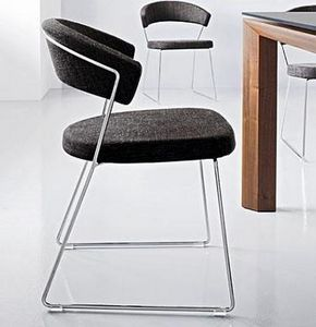 Calligaris - chaise design new york en tissu noir et acier chro - Chaise