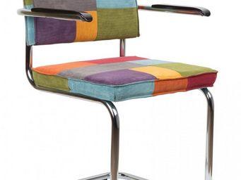 ZUIVER - chaise zuiver ridge rib velours patchwork piétemen - Chaise