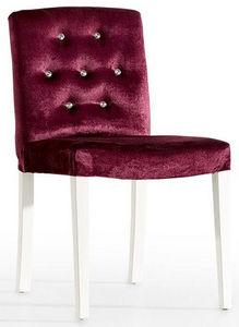 COMFORIUM - chaise glamour en velours coloris mauve et strass - Chaise