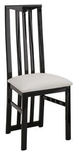 COMFORIUM - lot de 2 chaises noires et blanches ganies de stra - Chaise