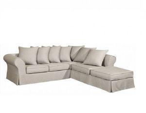 Home Spirit - canapé d'angle fixe harry tissu tweed écru - Canapé Modulable