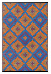 FABHABITAT - tapis intérieur extérieur saman orange et bleu gra - Tapis Contemporain