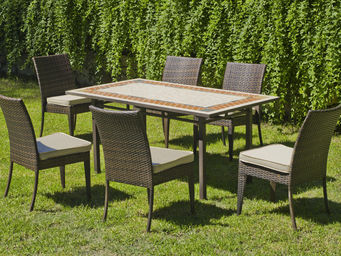 HEVEA - table mosaïque et fauteuils résine tressée - Salle À Manger De Jardin