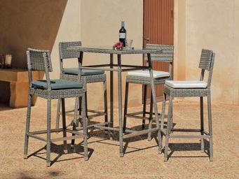 HEVEA - table haute et chaises en résine almara coussins é - Salle À Manger De Jardin
