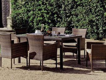 HEVEA - salon jardin résine marron 6 places luxton - Salle À Manger De Jardin