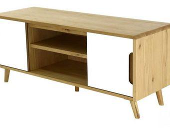 ZAGO - meuble tv 2 portes coulissantes et 2 niches elfy - Meuble Tv Hi Fi