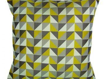 BAILET - coussin d�co prisme - 40x40 cm - verso jaune - Coussin Carr�