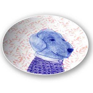 la Magie dans l'Image - assiette mon petit chien fond rose - Assiette De Présentation