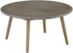 ZAGO - table basse béton et chêne bird - Table Basse Ronde