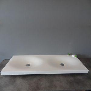 Rue du Bain - lavabo suspendu double vasque blanc mat, 120x45 cm - Lavabo Suspendu