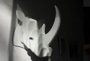 CURIOSITÉ & BOIS - rhinocéros - Sculpture Animalière