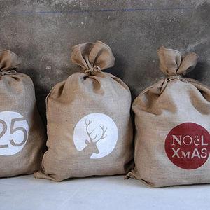 Un Esprit En Plus - fourre tout toile de jute - Décoration De Noël