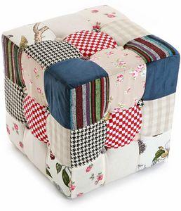 VERSA - pouf carré patchwork romantic - Pouf
