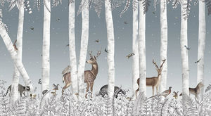 Au Fil Des Couleurs - woody chesnut midnight - Papier Peint Panoramique