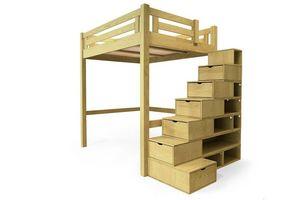 ABC MEUBLES - abc meubles - lit mezzanine alpage bois + escalier cube hauteur réglable miel 140x200 - Lit Mezzanine