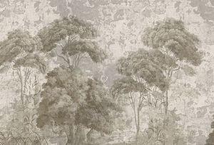 Ananbô - pins et oliviers grisaille sépia patine xviiième - Papier Peint Panoramique