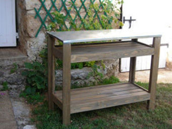 BARCLER - table de jardin multifonctions en bois et zinc 97x - Console D'extérieur