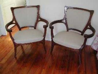 ANTIQUITÉS 95 - paire de fauteuils art nouveau - Fauteuil