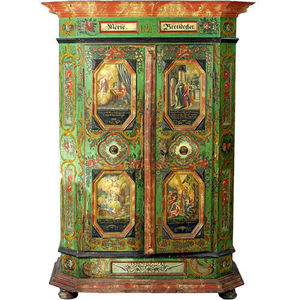 ARADER GALLERIES - armoire de mariage bavaroien bois peint - Armoire De Mariage