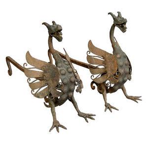 Dos Gallos - spanish dragon andirons - Chenets