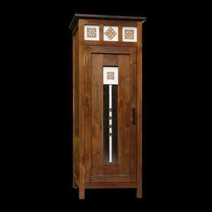 Matahati - armoire teck et vitrail - Armoire À Portes Battantes