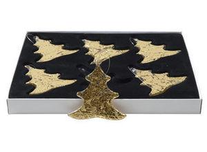 BELDEKO - 6 pendentifs en verre doré - Décoration De Sapin De Noël