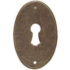 FERRURES ET PATINES - entree de meuble ovale en fer vieilli style louis  - Rosace De Porte