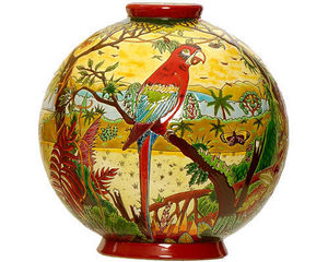 Emaux de Longwy 1798 - boule flo (oiseaux d'amérique) - Boule Décorative