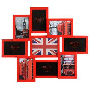 Maisons du monde - cadre 9 vues relief rouge - Cadre Multi Vues