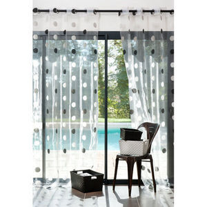 Maisons du monde - rideau organza pois gris - Rideaux À Oeillets
